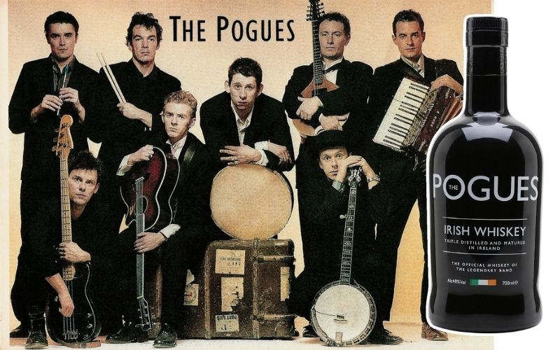 Side-by-side of The Pogues and a bottle of their liquor