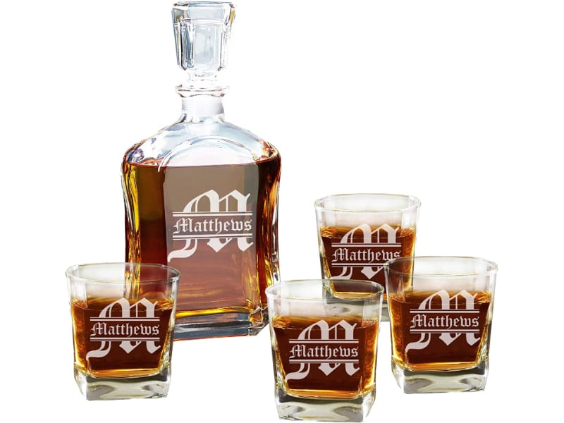 Personalized 5-Piece Whisky Decanter Set