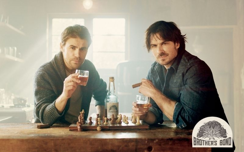 Ian and Paul holding a glass of Brother's Bond Bourbon - Image by Esquire.com