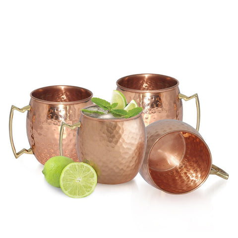 Moscow Mule Copper Mugs Hammered Barrel Solid 16 Oz Cups Drinking Mug Set Of 4