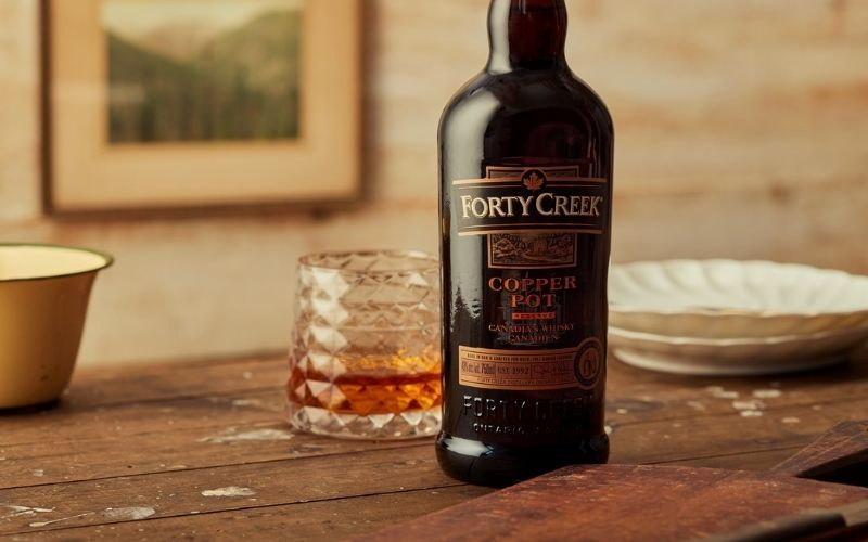 A Bottle of Forty Creek Copper Pot Canadian Whisky