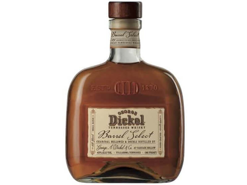 A bottle of George Dickel Barrel Select Whiskey
