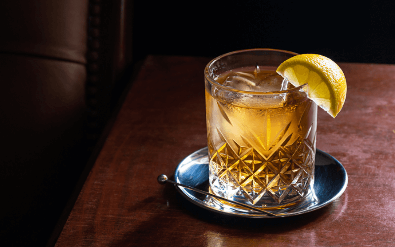 A glass of bourbon and water