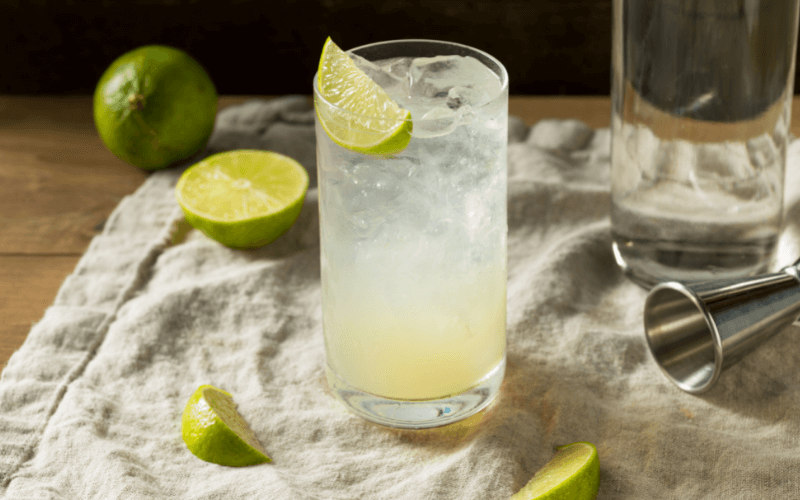 A glass of gin rickey