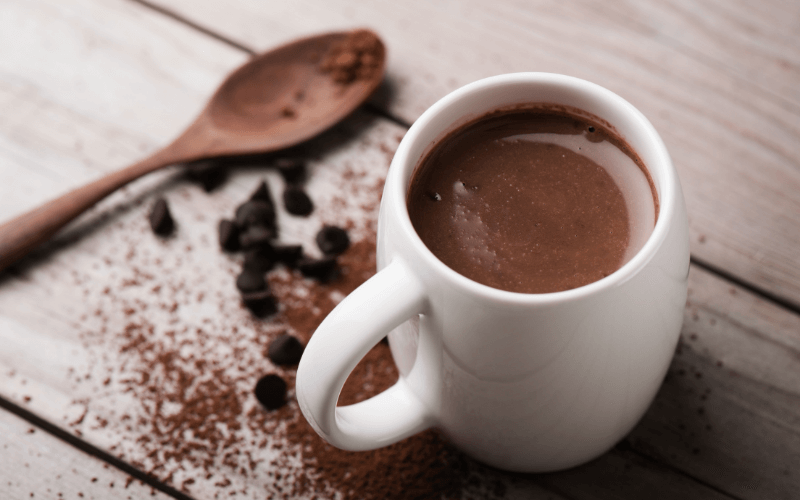 A glass of hot chocolate