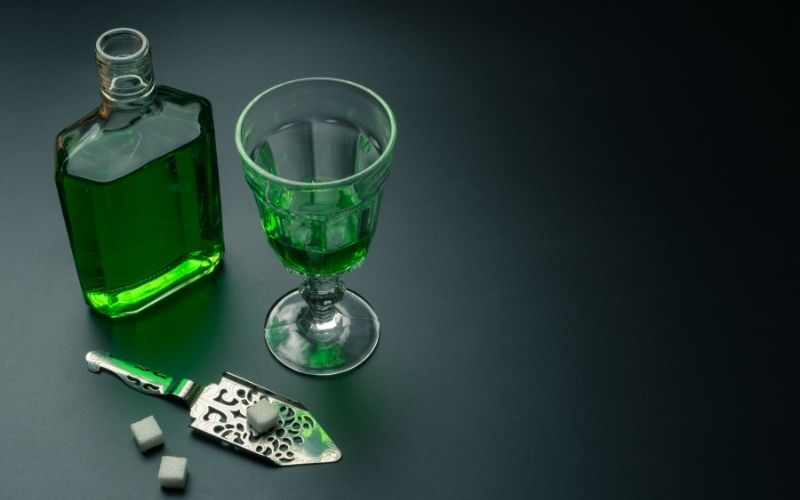 Absinthe with sugar cubes and a spoon