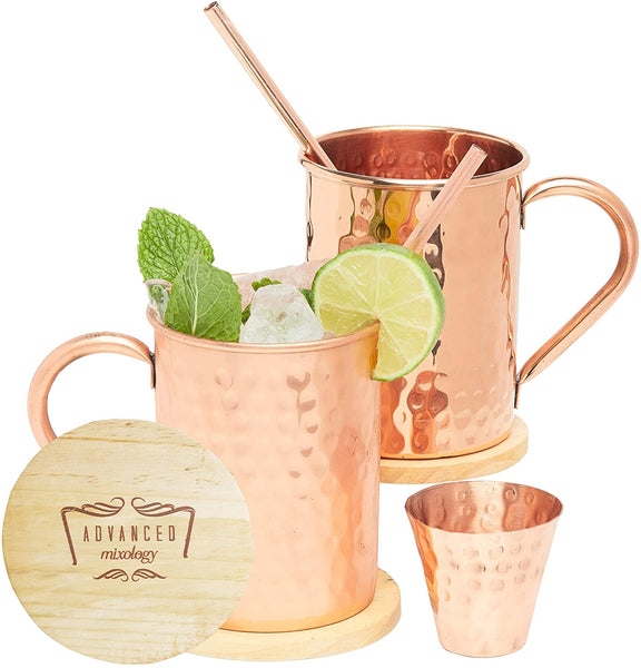 Advanced Mixology Moscow Mule Copper Mugs - Set of 2-100% HANDCRAFTED - Pure Solid Copper Mugs
