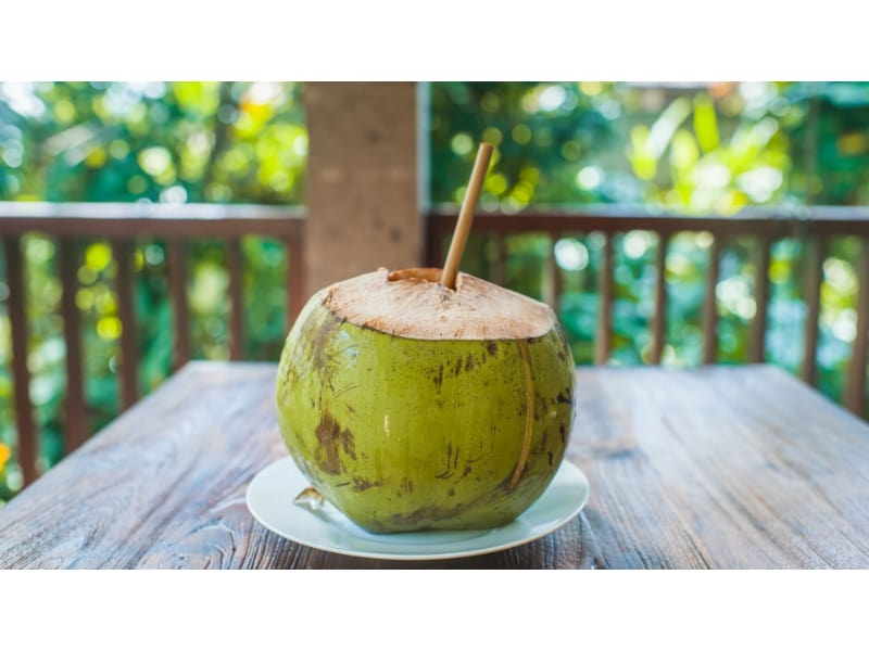 Bamboo straws used to drink fresh coconut juice