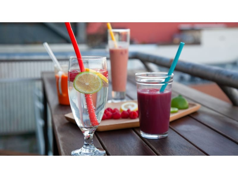Silicone straws used on different beverages such as smoothies and juices