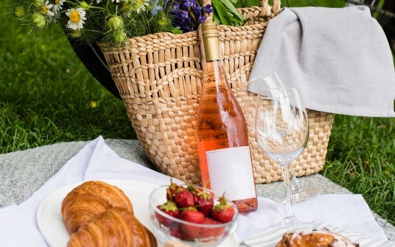 Beautiful Summer Picnic with Rose Wine