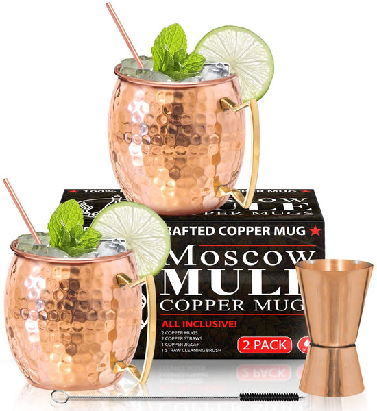 Benicci, Moscow Mule Copper Mugs-Set of 2 16 Ounce Mug with 2 Copper Straws and 1 Jigger