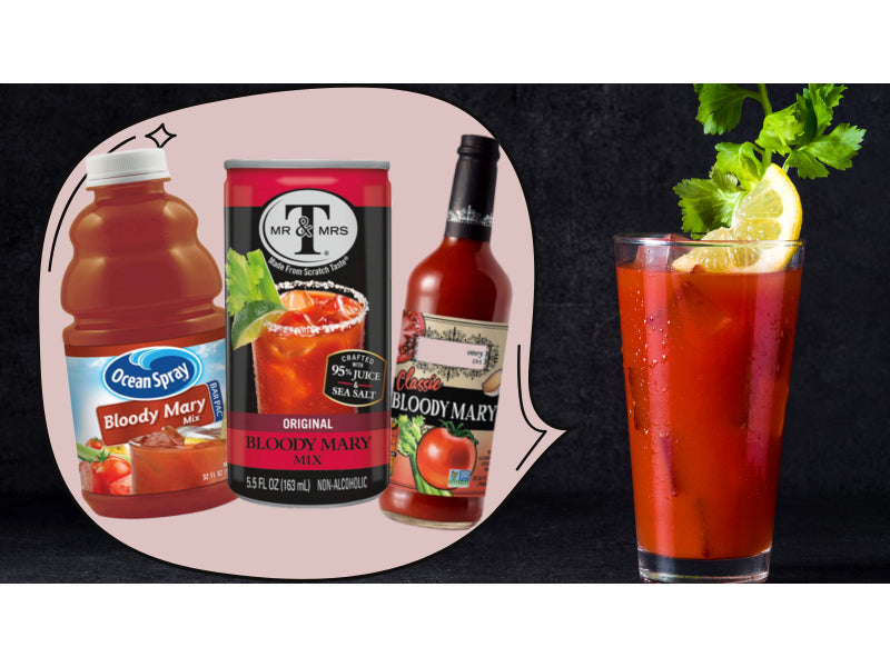 Bloody Mary cocktail with three mixes beside it