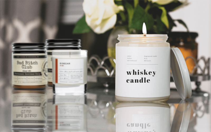 cocktail scented candle in a table