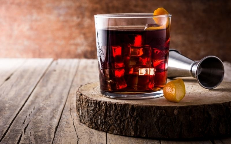 Boulevardier garnished with citrus peel