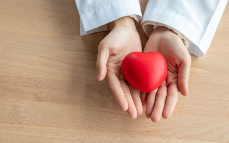 Close-up of Red Heart in the Hands of Woman