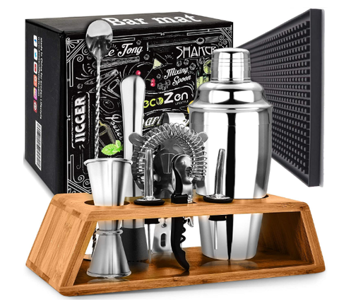 Cocktail Set with Bar Mat | Bartender Mixing Tool Kit with Elegant Wooden Stand - AdvancedMixology