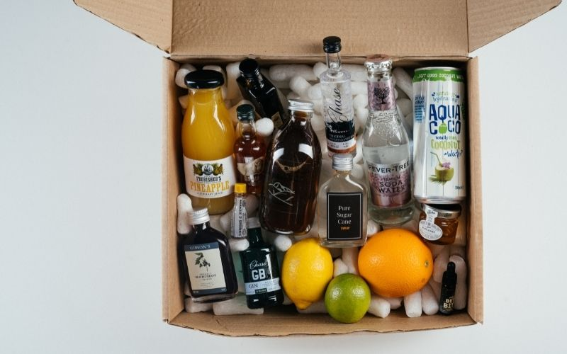 A box full of cocktail ingredients