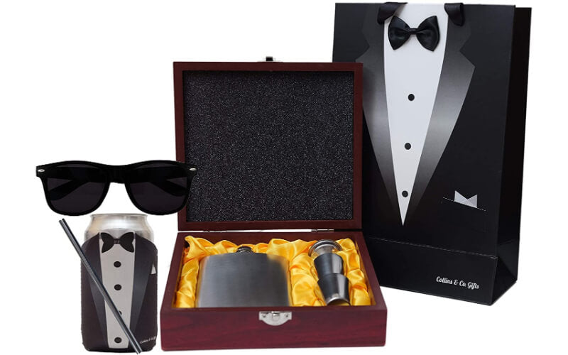 Collins & Co. Gifts Groomsmen Flask in Wooden Gift Box