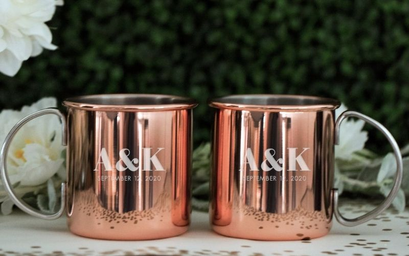 Couple Personalized Copper Mugs with Custom Dates - Image by happilyeveretched
