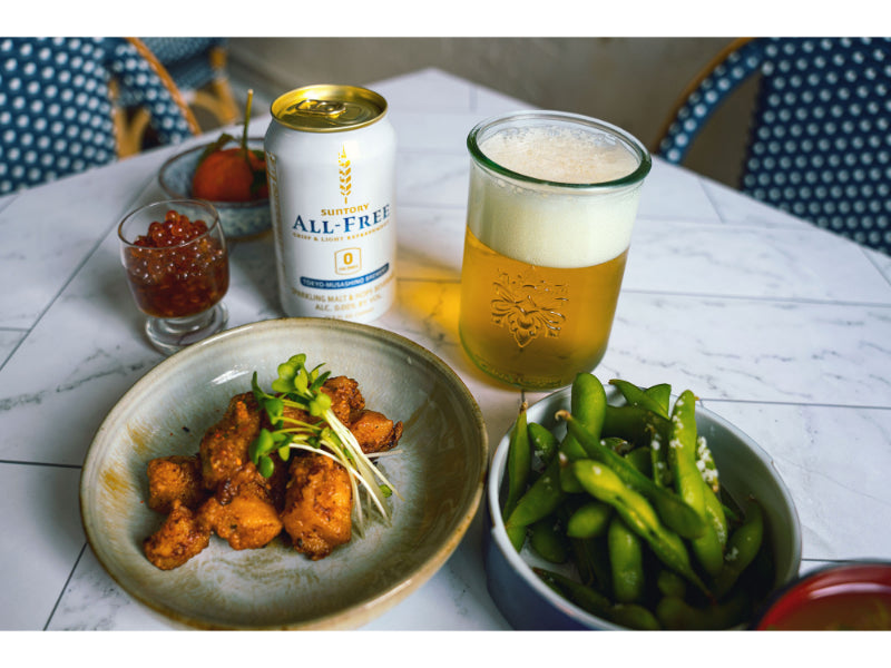 Suntory All Free Non Alcoholic Beer with Fried Chicken on the table