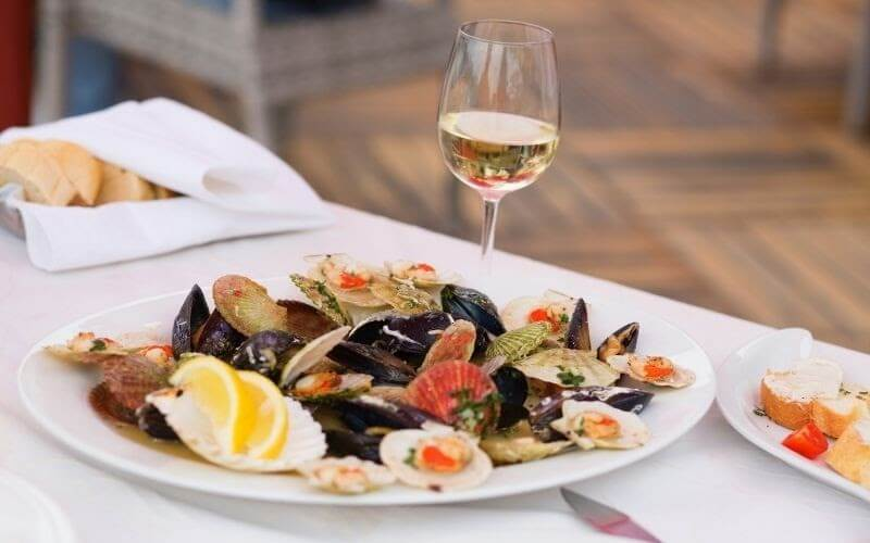 Delicious Clams and Glass of White Wine