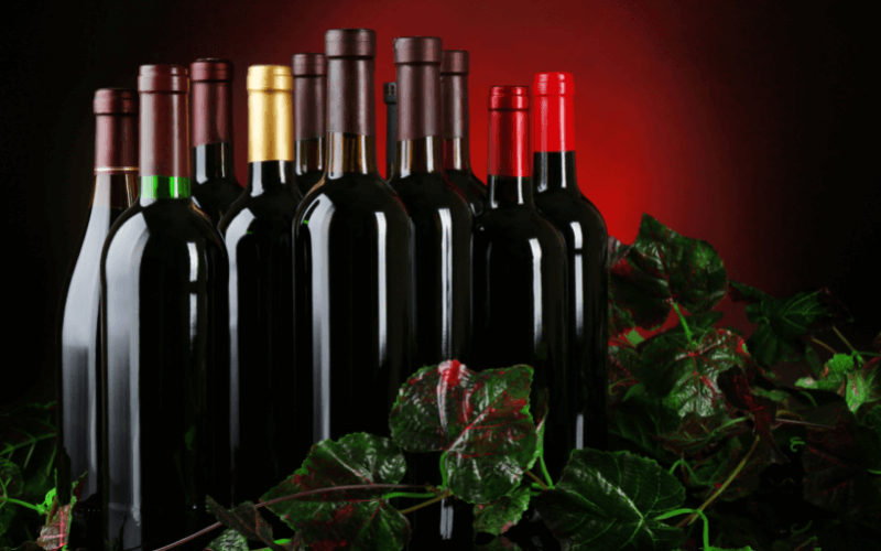 Differed red wine bottles