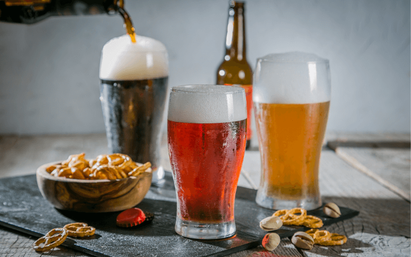 Different Types of Beer in glasses