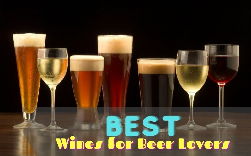 Different types of beer and wine in glasses