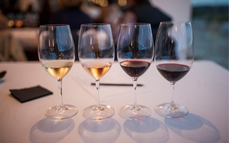 Different wines in glasses