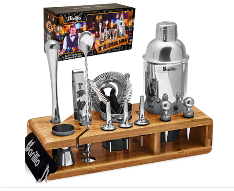 Elite 23-Piece Bartender Kit Cocktail Shaker Set by BARILLIO: Stainless Steel Bar Tools With Sleek Bamboo Stand - AdvancedMixology