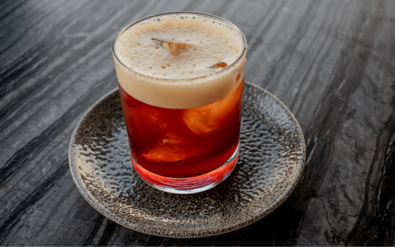 Exquisite traditional Spanish Carajillo drink, with coffee and liquor