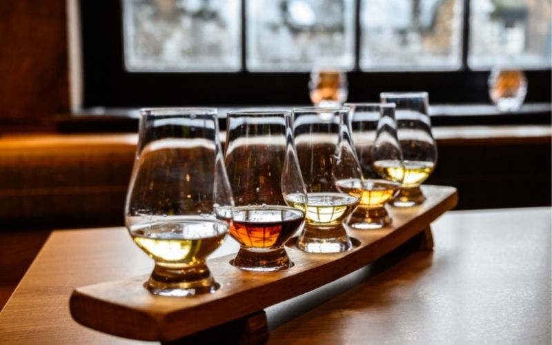 Flight of different whiskey types