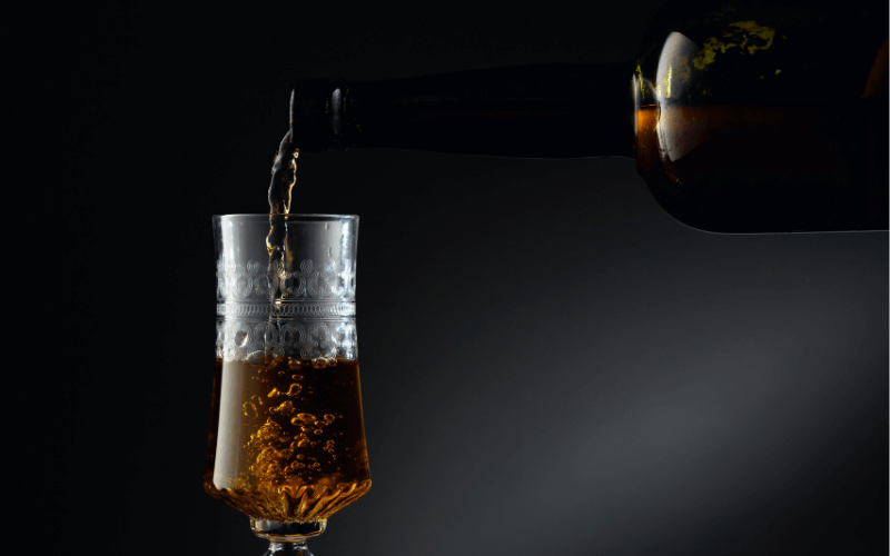 Fortified wine poured into a crystal glass