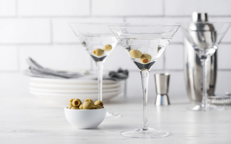 Fresh homemade vodka martini cocktails with vermouth