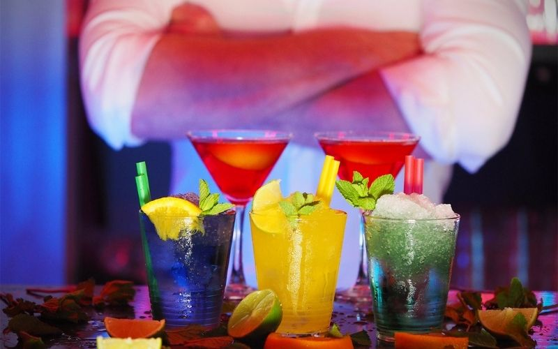 Glasses of colorful cocktails