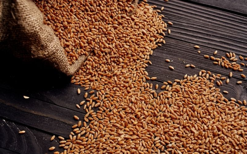 Grains on a wooden surface