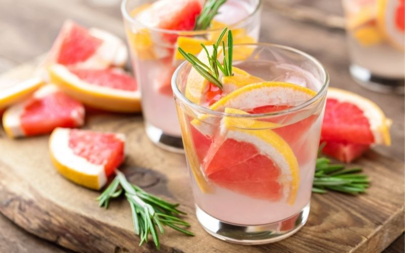 Grapefruit Prosecco with rosemary