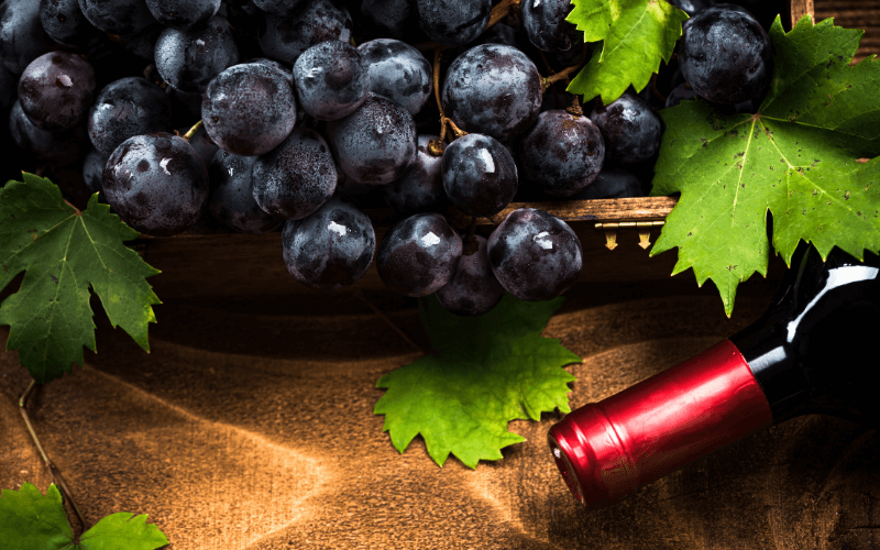 Grapes with red wine