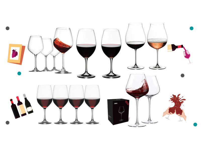 Group of red wine glasses