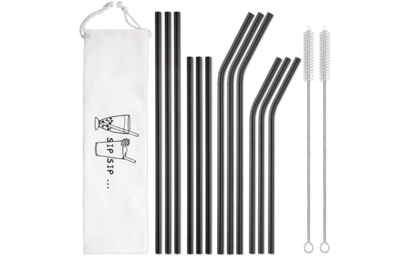 Hiware 12-Pack Black Stainless Steel Straws Reusable with Case