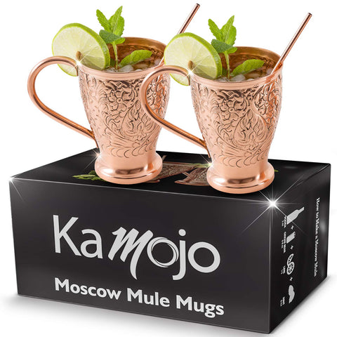 Kamojo Embossed Copper Mule Mugs