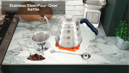 Kitchen Science Premium Grade Stainless Steel Pour Over Goose Neck Tea and Coffee Kettle