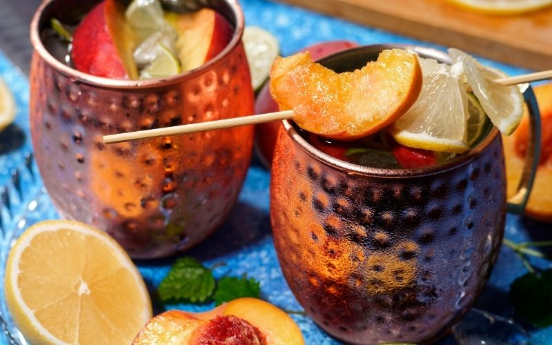 Merry Mule garnished with lemon and apricot
