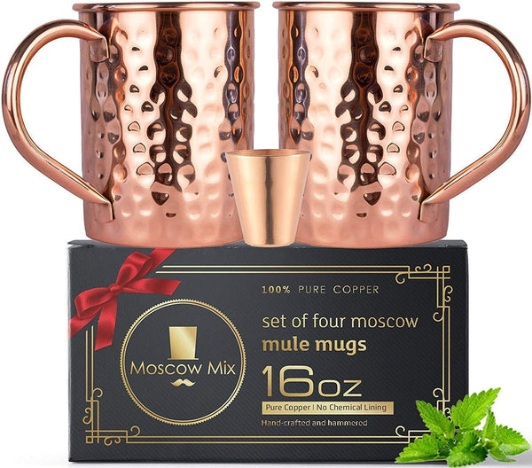 Moscow Mule Copper Mugs Set - FREE 2 Straws and Shot Glass - Set of 2 HandCrafted Food Safe Pure Solid Copper Mugs