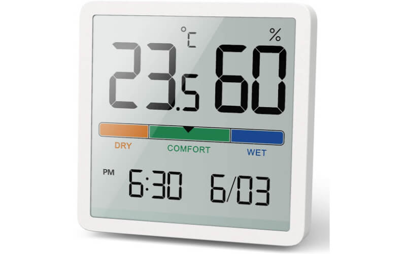 NOKLEAD Hygrometer Thermometer with Clock