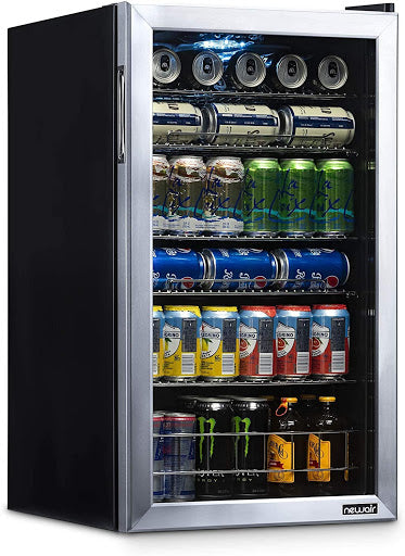 NewAir Beverage Cooler with several bottled and canned drinks