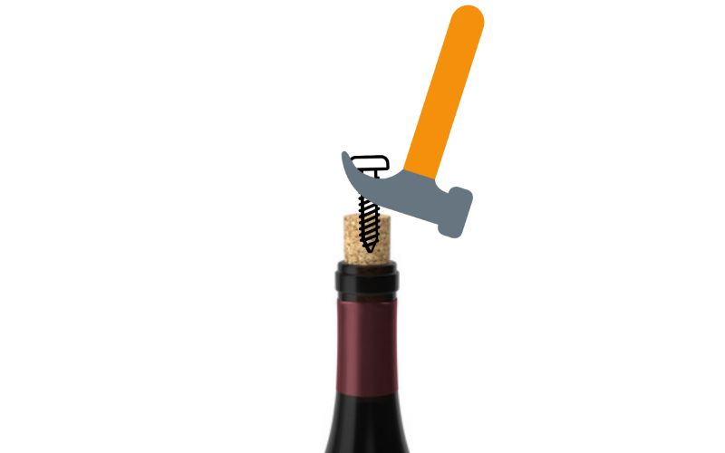 Old Screw and Hammer - How to Open a Wine Bottle Without a Corkscrew