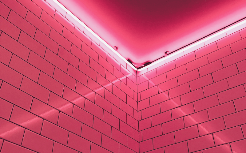 Pink LED Strip on the wall