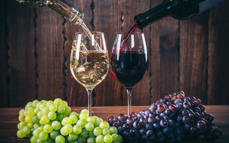 Pouring Red and White Wine