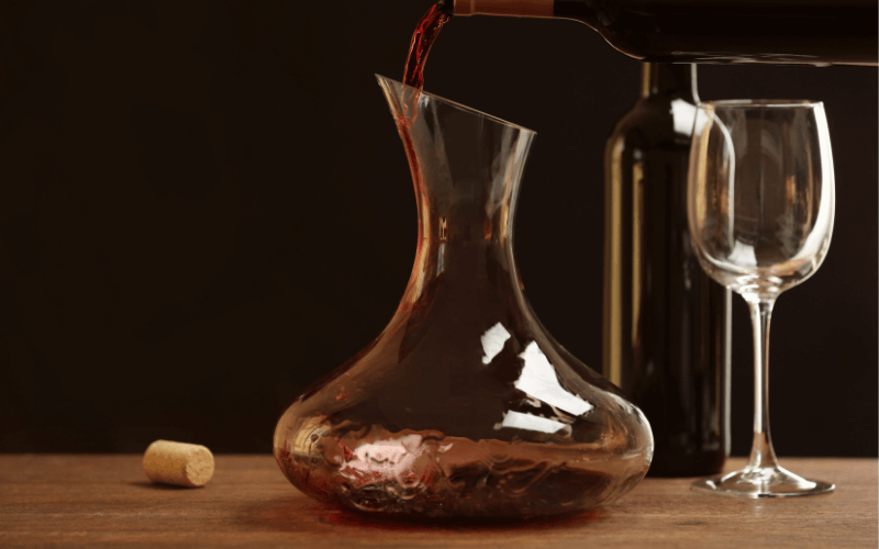 Pouring Wine in Decanter